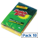 3M Scotch-Brite Heavy Duty Washing Up Scouring Sponge Pack of 10