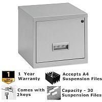 Pierre Henry A4 1 Drawer Steel Filing Cabinet Cube Lockable Silver