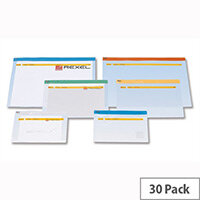 Rexel Carry Document Bag A4 Clear with Coloured Seal Assorted Pack 30