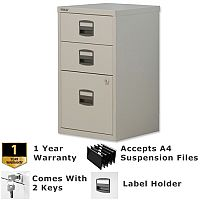 1 Filing & 2 Stationery Drawer A4 Steel Filing Cabinet Lockable Grey Bisley PFA Home Filers