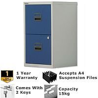 2 Drawer A4 Steel Filing Cabinet Lockable Grey & Oxford Blue Bisley PFA Home Filers