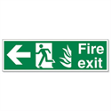 Stewart Superior Fire Exit Man Arrow Left Self Adhesive Sign Standard PVC