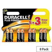 Duracell Plus Power Alkaline AA Battery 1.5V PLUS POWER AA 5+3 Free (Pack 8)