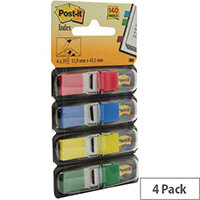 Post-it Small Index Flags Repositionable W12xH43mm Standard Colours Pack 140