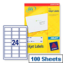 Avery Quickdry Inkjet Label 24 Per Sheet (Pack of 100)