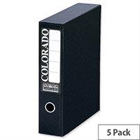 A4 Black Box File Lock Spring 70mm Spine Pack 5 Eastlight Colorado