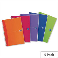 Oxford Office A5 Notebook Wirebound Plastic Bright Assorted Pack 5