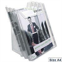 Extendable A4 Literature Holder Clear Pack 3 Durable Combiboxx