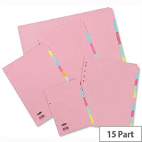 Concord 15 Part Assorted Subject Dividers A4