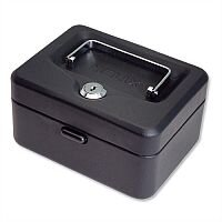 Compact Cash Box – 6 Inch with Simple Latch Key, Lockable, 6 Coin Compartments Tray, Black, 2 Keys, Scratch-Resistant & Recessed Metal (WN6010)