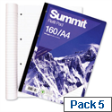 A4 Refill Pad Feint Ruled 160 Pages White Pack 5 Summit