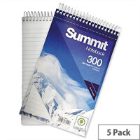 Wirebound Notebook Headbound 125x200mm 300 Pages Pack 5 Summit