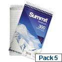 Wirebound Notebook Headbound 125x200mm 300 Pages Pack 5 Summit