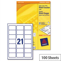 Avery 21 Per Sheet Multifunction Labels 70 x 42.3mm (2100 Labels)
