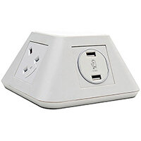 Inca On-surface Power Module 2 x UK Sockets, 2 x twin USB Fast Charge - White