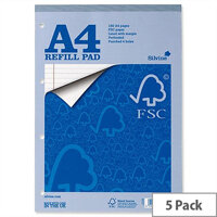 Silvine A4 Refill Pad FSC Headbound Ruled Margin 4-Hole 80 Sheets Pack 5
