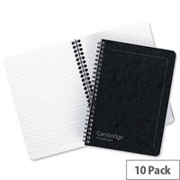 Europa A5 Note Maker Book Sidebound 120 Pages Black Pack 10