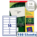 Avery LR7163-100 Address Labels 14 per Sheet Laser 99.1 x 38.1mm 1400 Labels
