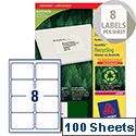Avery LR7165-100 Labels Laser 8 per Sheet 99.1 x 67.7mm 800 Labels