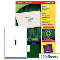 Avery LR7167-100 Laser Label Recycled 199.6 x 289.1mm (100 Labels)