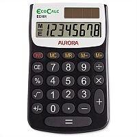 Aurora Black /White 8-Digit Handheld Calculator Solar and Battery Power EC101