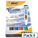Bic Velleda 1701 Bullet Tip Assorted Whiteboard Markers (Pack of 4) 1199001704