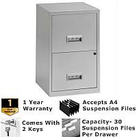 Pierre Henry A4 2 Drawer Steel Filing Cabinet Lockable Silver