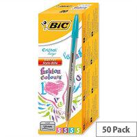 Bic Cristal Large Ballpoint Pen Blue Clear Barrel Pack 50