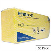 Wypall X50 Cleaning Cloths Absorbent Strong Non-woven Tear-resistant Yellow Ref 7443 Pack 50 806735