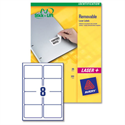 Avery Labels Removable Laser 8 per Sheet 96x63.5mm White L4745REV-25 200 Labels
