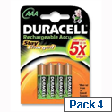 Duracell Stay Charged 800mAh AAA Rechargeable Batteries Pack 4