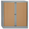 Bisley A4 EuroTambour Including 2 Shelves W1000xD430xH1030mm Beech Shutters Silver Frame ET410/10/2SB
