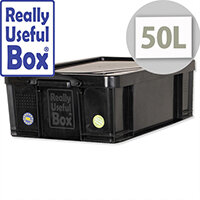 Really Useful 50 Litre Stackable Storage Box Black Recycled Plastic