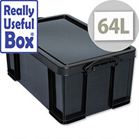 Really Useful Storage Box Plastic Recycled Stackable 64 Litre Black