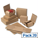 Easi Mailer Kraft Mailing Boxes 220x155x50mm Brown Pack 20