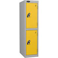 Probe 2 Door Low Locker Hasp & Staple Lock Extra Depth ACTIVECOAT  Silver Yellow W305xD460xH1220mm