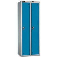 Probe 1 Door Extra Deep Locker ACTIVECOAT W305xD460xH1780mm Nest of 2 Silver Body & Blue Doors By Lion Steel