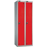 Probe 1 Door Extra Deep Locker ACTIVECOAT W305xD460xH1780mm Nest of 2 Silver Body & Red Doors By Lion Steel