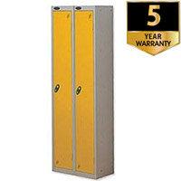 Probe 1 Door Extra Deep Locker ACTIVECOAT W305xD460xH1780mm Nest of 2 Silver Body & Yellow Doors By Lion Steel