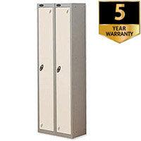 Probe 1 Door Extra Deep Locker ACTIVECOAT W305xD460xH1780mm Nest of 2 Silver Body & White Doors By Lion Steel