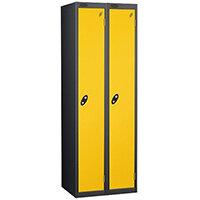 Personal Locker Nest of 2 Extra Depth 1 Door Black Yellow Trexus