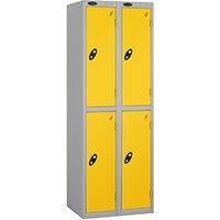Probe 2 Door Extra Deep Locker ACTIVECOAT W305xD460xH1780mm Nest of 2 Silver Body Yellow Doors By Lion Steel