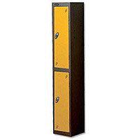 Probe 2 Door Locker Nest of 2 ACTIVECOAT W305xD305xH1780mm Black Body & Yellow Doors By Lion Steel