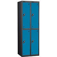 Probe 2 Door Extra Deep Locker ACTIVECOAT W305xD460xH1780mm Nest of 2 Black Body & Blue Doors By Lion Steel