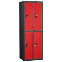 Probe 2 Door Extra Deep Locker ACTIVECOAT W305xD460xH1780mm Nest of 2 Black Body & Red Doors By Lion Steel