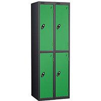 Probe 2 Door Extra Deep Locker ACTIVECOAT W305xD460xH1780mm Nest of 2 Black Body & Green Doors By Lion Steel
