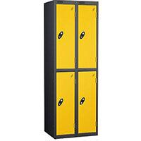 Probe 2 Door Extra Deep Locker ACTIVECOAT W305xD460xH1780mm Nest of 2 Black Body & Yellow Doors By Lion Steel