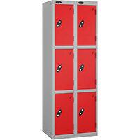 Probe 3 Door Extra Deep Locker Nest of 2 Silver Body Red Doors By Lion Steel