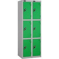 Probe 3 Door Extra Deep Locker Nest of 2 Silver Body Green Doors By Lion Steel