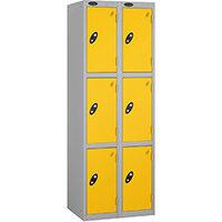 Probe 3 Door Extra Deep Locker Nest of 2 Silver Body Yellow Doors By Lion Steel